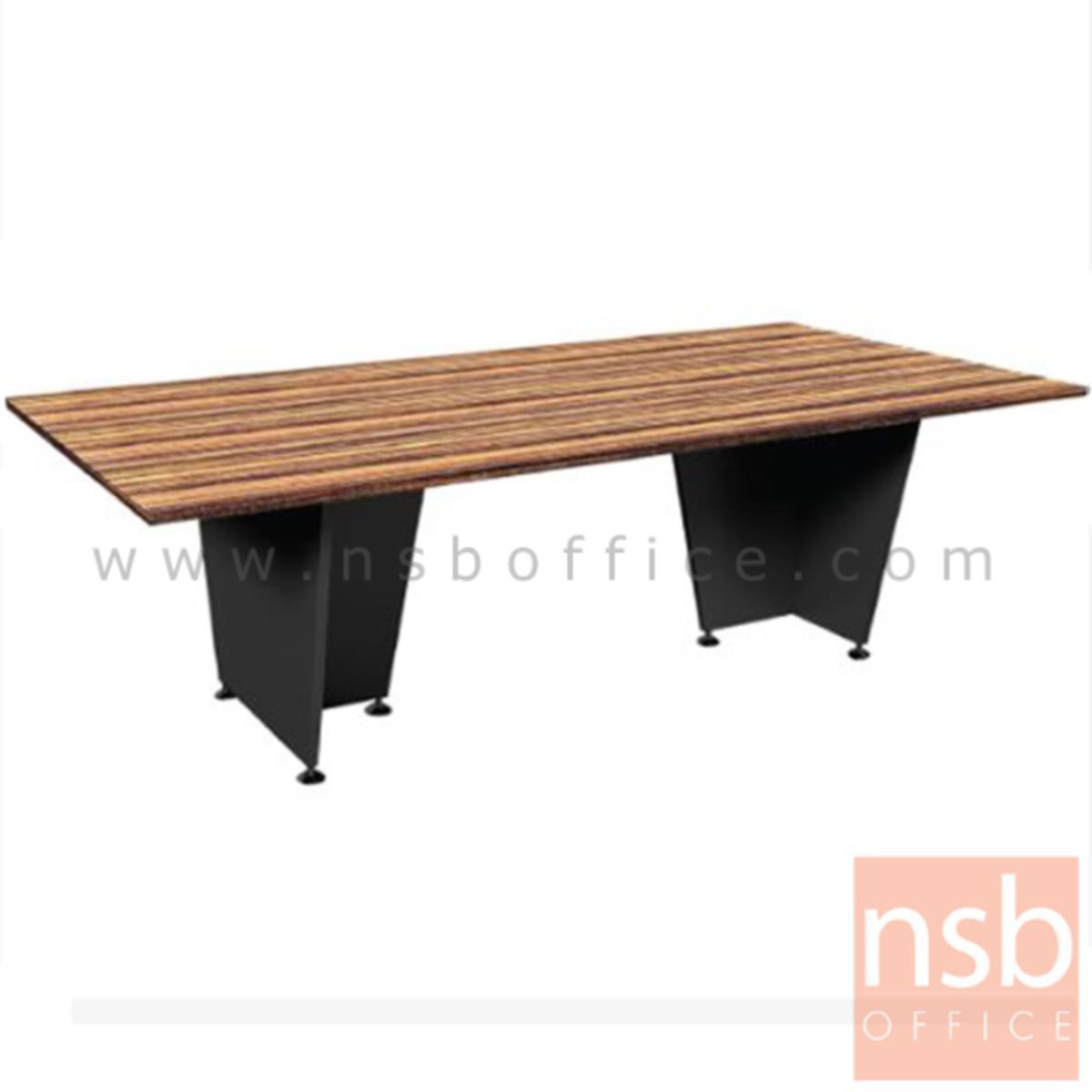 A26A022:โต๊ะประชุม  รุ่น Coralina (คอราลิน่า) ขนาด 240W cm. ขาไม้ สีลายไม้ซีบราโน่ตัดดำ ไม่มีขอบ
