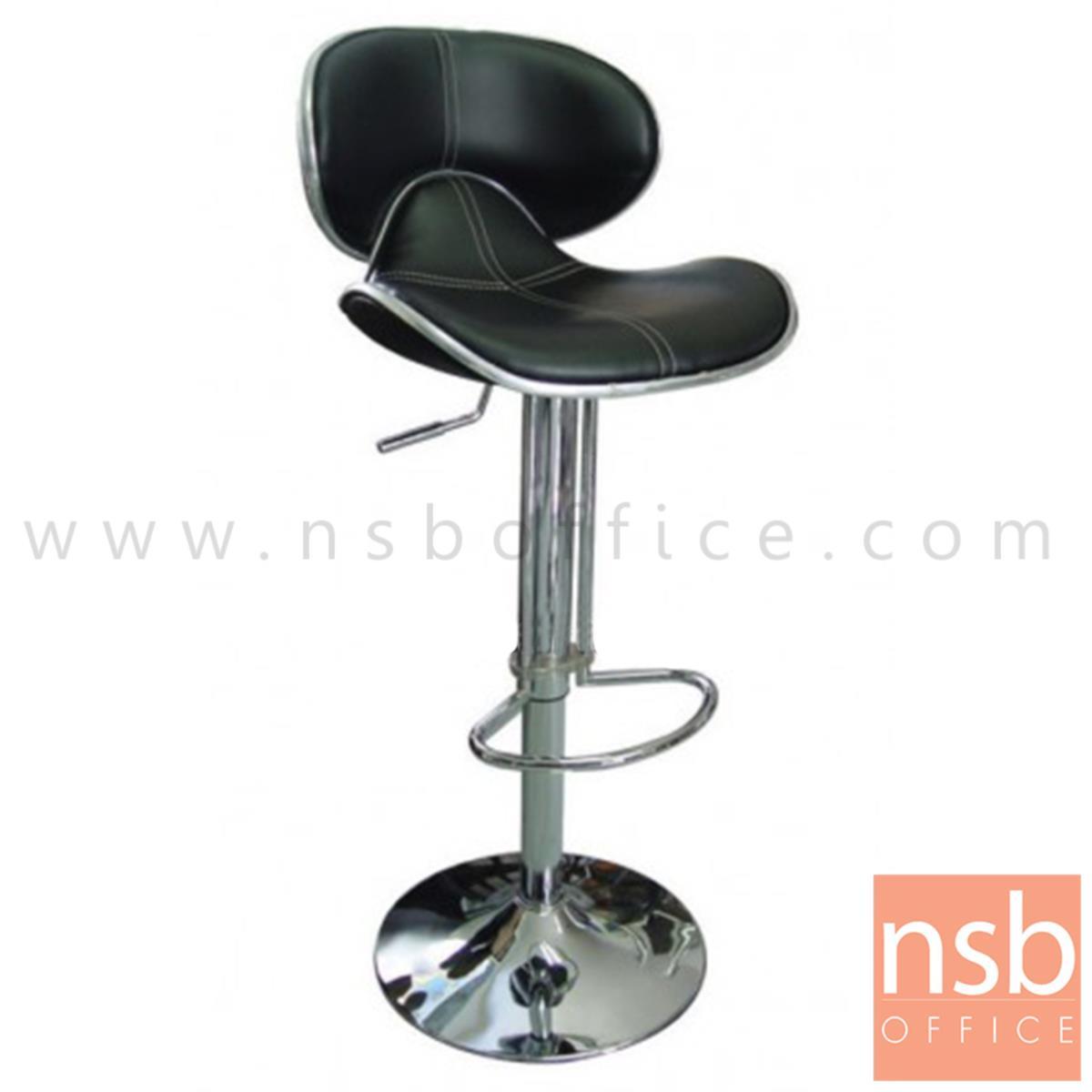 B18A064:เก้าอี้บาร์สูงหนังเทียม รุ่น Kiele (คีลี)   โช๊คแก๊ส ขาโครเมี่ยมฐานจานกลม