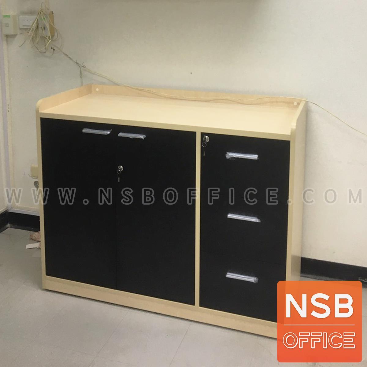 ตู้เอนกประสงค์ 2 บานเปิด 3 ลิ้นชัก  รุ่น Wallbox (วอลบ็อกซ์) ขนาด 120W, 150W cm. มีขอบกันตก