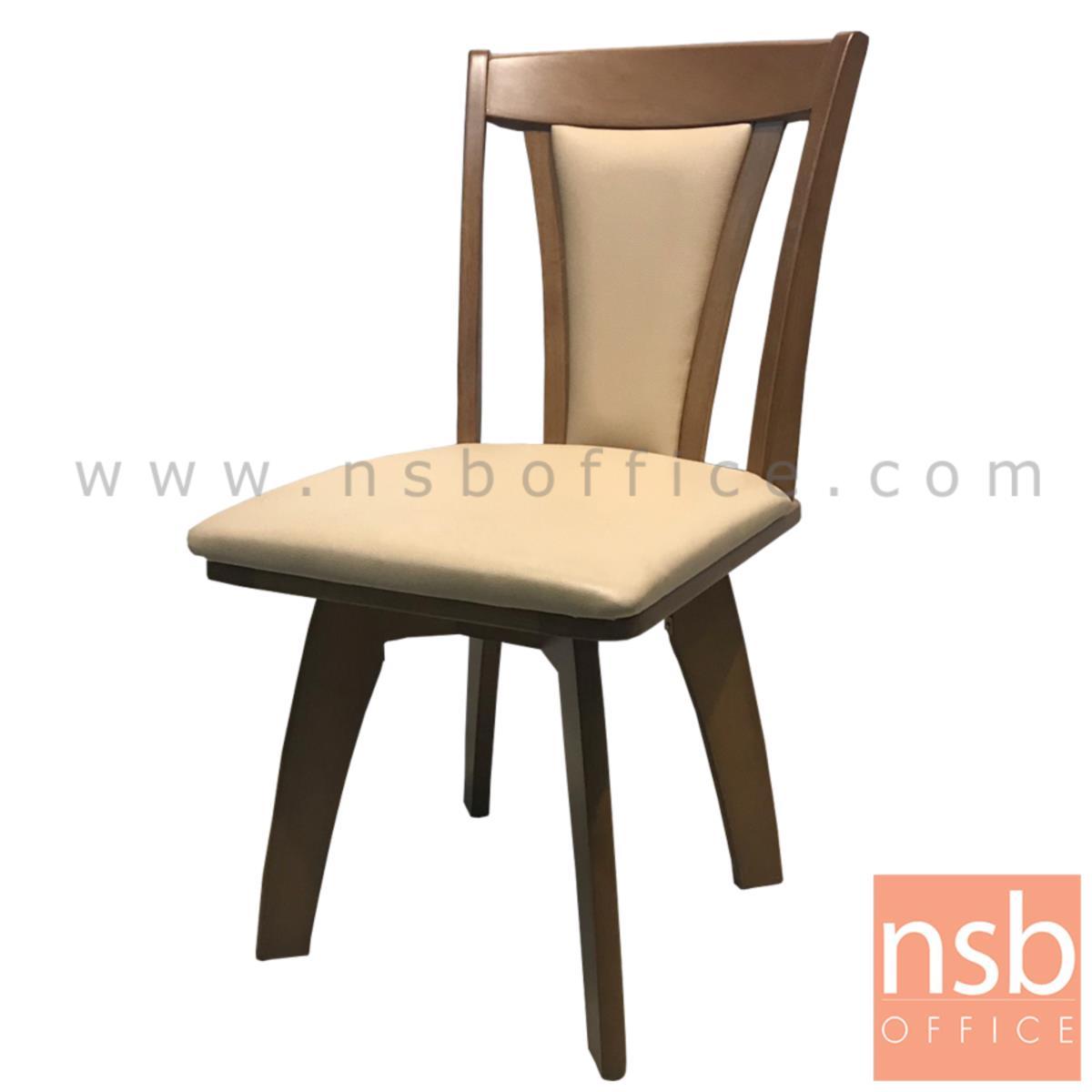 B22A162:เก้าอี้ไม้ที่นั่งหนังเทียม รุ่น NSB-42 ขนาด 42W cm.