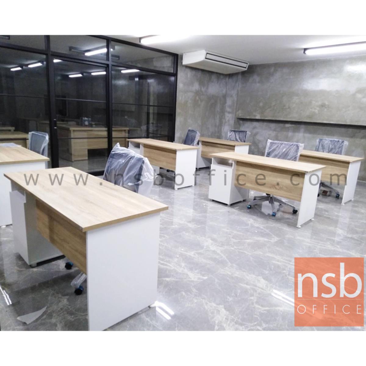 โต๊ะทำงาน 2 ลิ้นชัก รุ่น Banderas (แบนเดอราส) ขนาด 120W ,150W ,160W cm.  เมลามีน สีเนเจอร์ทีค-ขาว