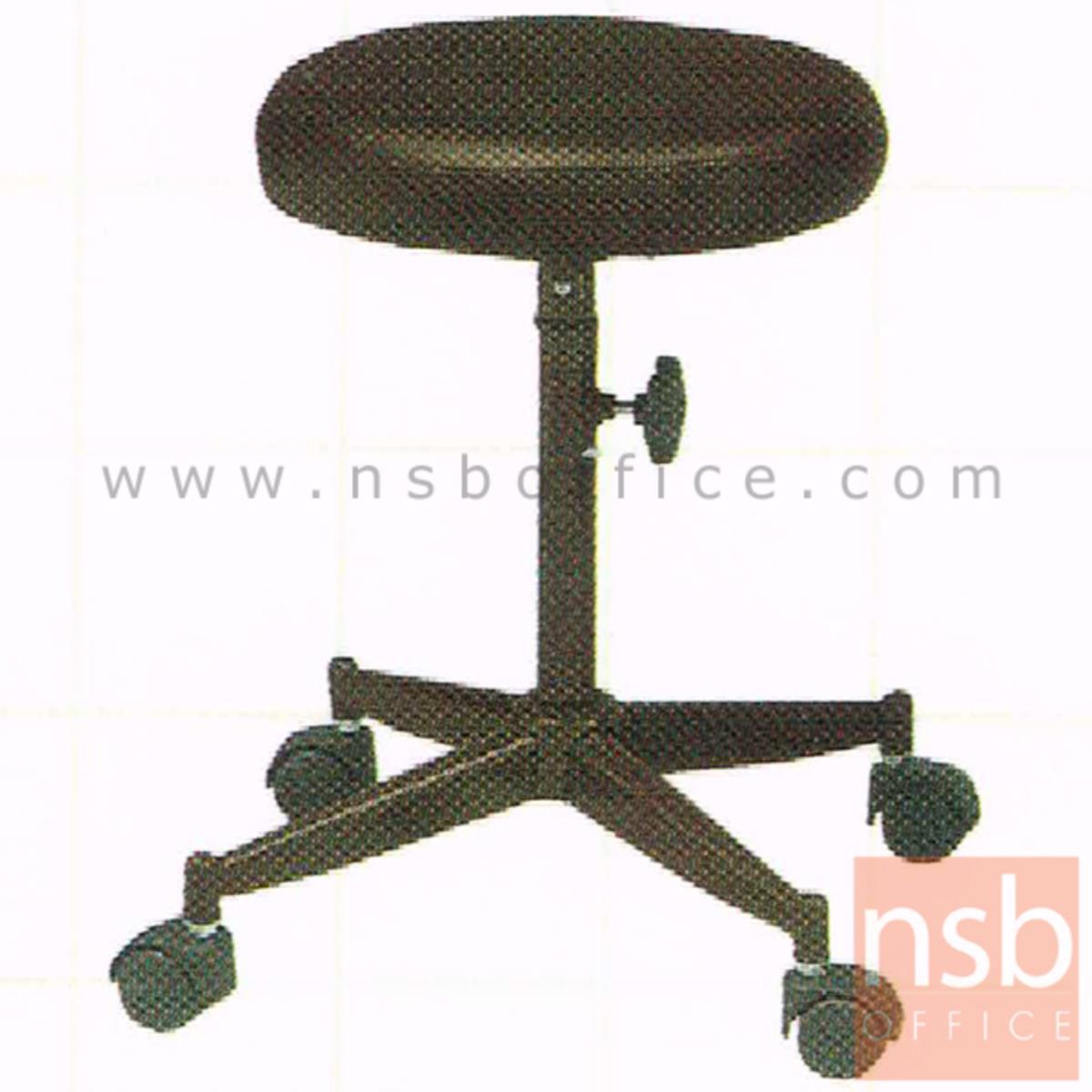 B02A080:เก้าอี้บาร์สตูลที่นั่งกลมล้อเลื่อน รุ่น Caroline (แคโรไลน์)  ขาเหล็ก