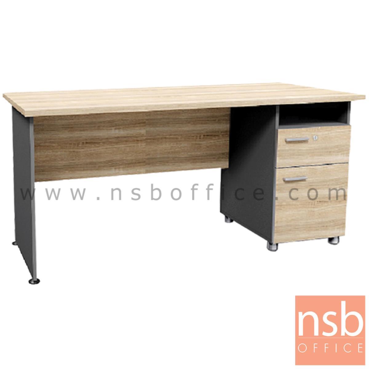 A13A194:โต๊ะทำงาน 2 ลิ้นชัก 1 ช่องโล่ง  รุ่น DKK-1602  ขนาด 160W cm. สีแกรนโอ๊คตัดกราไฟท์