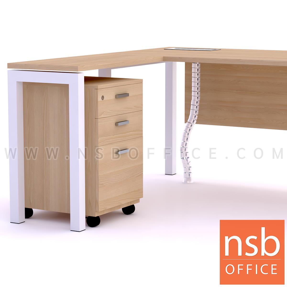 โต๊ะผู้บริหารตัวแอล ตู้ข้างล้อเลื่อน รุ่น Max steel (แม็กซ์สตีล) ขนาด 180W cm. รางไฟใต้โต๊ะ