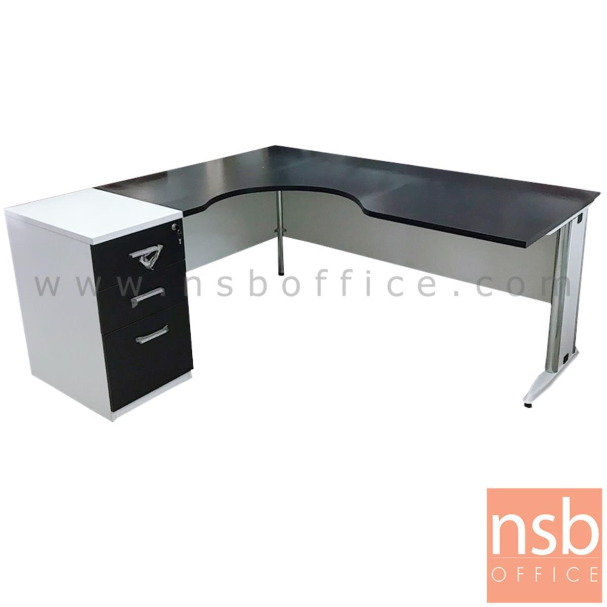 L10A203:โต๊ะผู้บริหารตัวแอลหน้าโค้งเว้า 3 ลิ้นชัก   ขนาด 160W1*180W2 cm. ขาเหล็ก