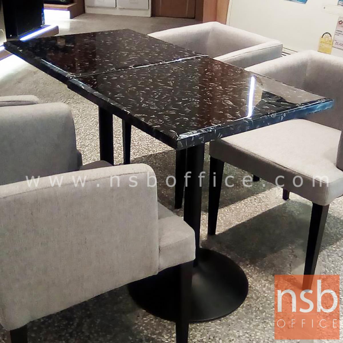 โต๊ะหน้าหินอ่อน รุ่น Beckinsale (เบ็กคินเซล) ขนาด 60W ,60Di cm.  โครงเหล็กเคลือบสีดำ