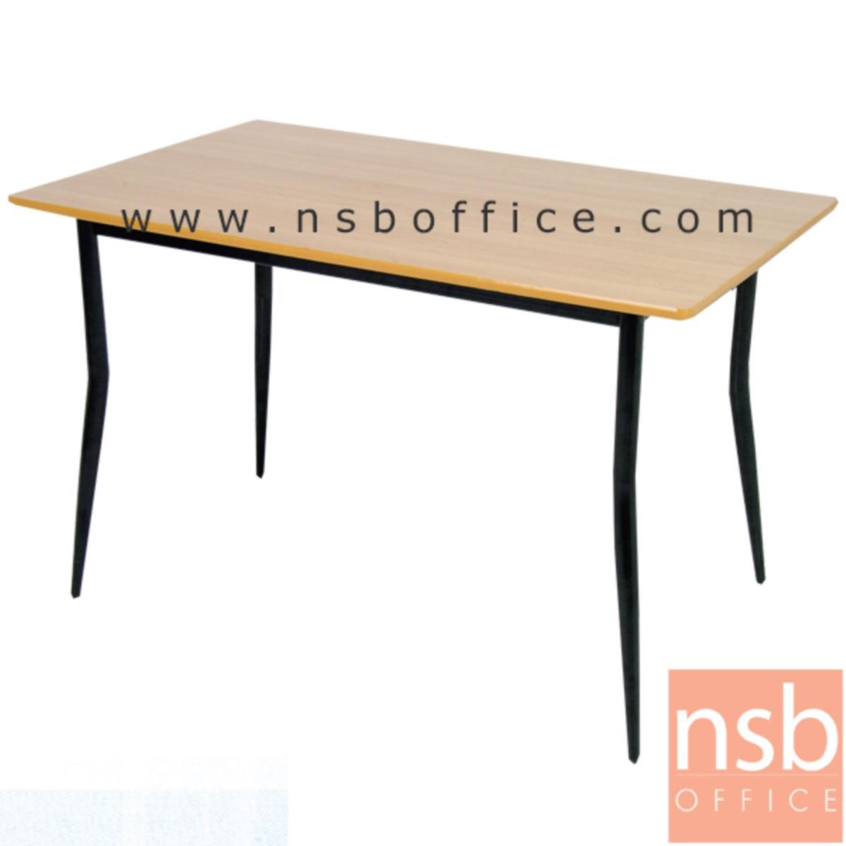 G14A084:โต๊ะรับประทานอาหารหน้าไม้ยางพารา รุ่น SR-3 ขนาด 90W ,120W ,150W cm.  โครงขาเหล็ก