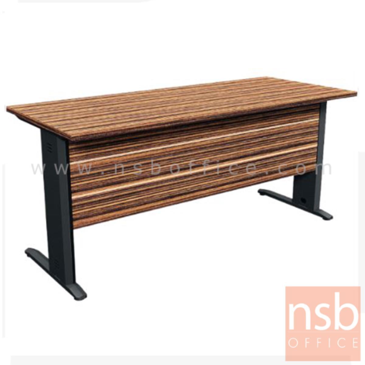 A26A027:โต๊ะทำงาน รุ่น Petally (เพทอลลี่) ขนาด 160W ,180W cm.  ขาเหล็ก สีลายไม้ซีบราโน่ตัดดำ ขอบ ROSEGOLD