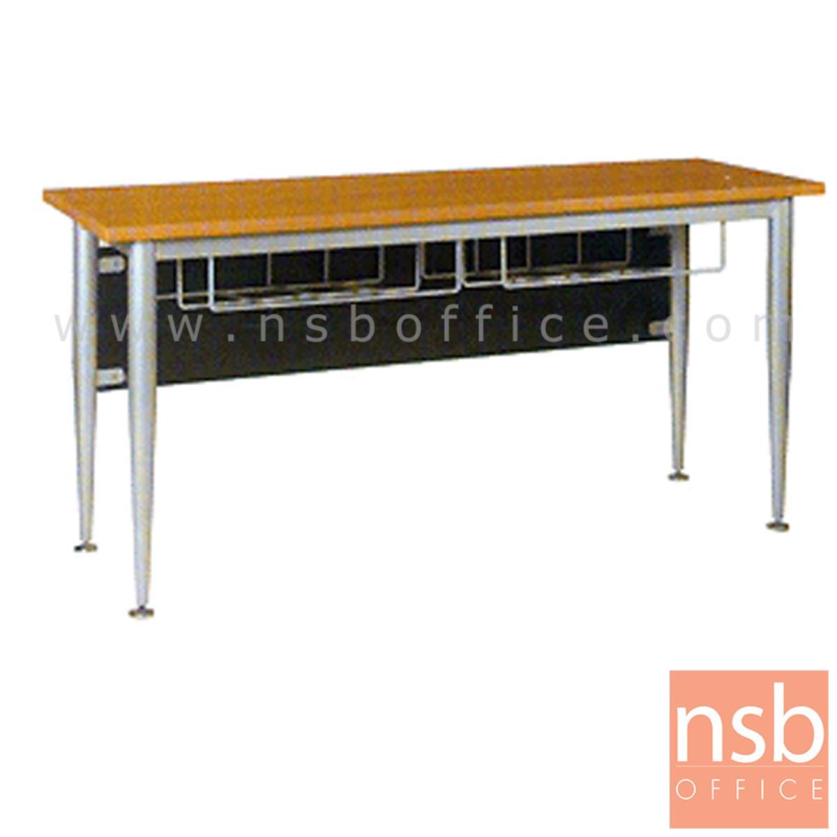 A07A043:โต๊ะทำงาน มีตะแกรงใต้โต๊ะ รุ่น Nomos (โนมอส) ขนาด 120W ,150W ,180W cm.  ขาเหล็กพ่นบอร์นเงิน