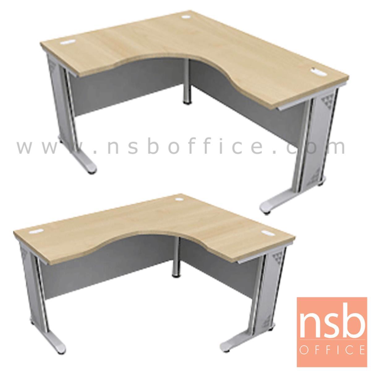 A18A018:โต๊ะทำงานตัวแอลหน้าโค้งเว้า รุ่น Camilo (คามิโล) ขนาด 150W1 ,165W1 ,180W1*120W2 cm.  ขาเหล็ก