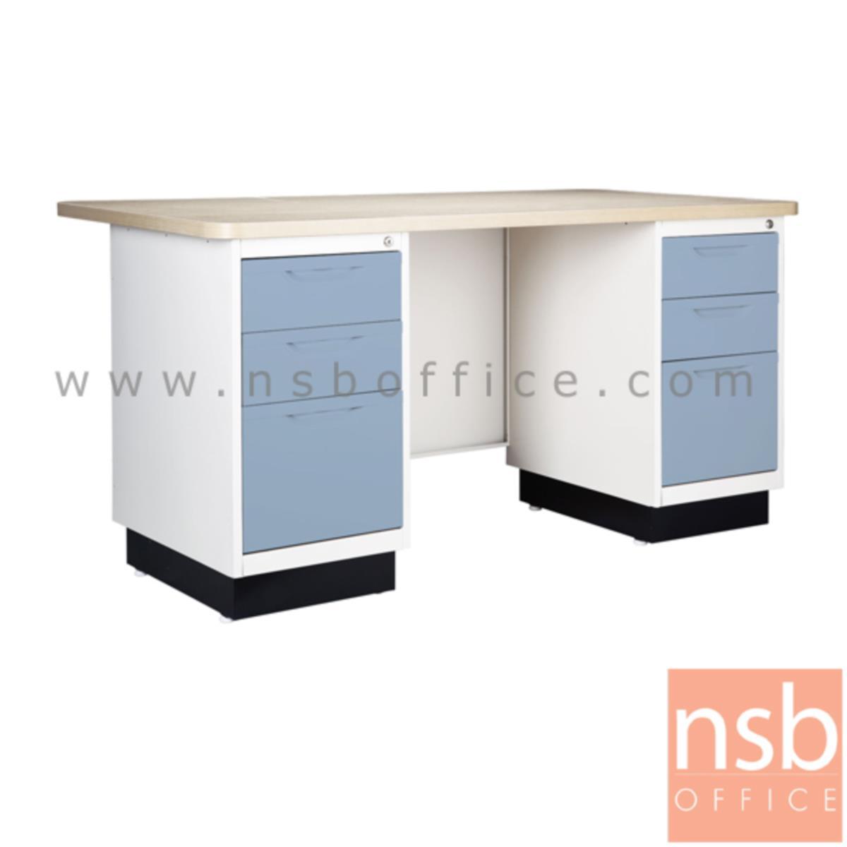 โต๊ะทำงานหน้า Melamine ลายไม้สีบีช 6 ลิ้นชัก รุ่น BS-156 ขนาด 5 ฟุต 150W*75H cm.