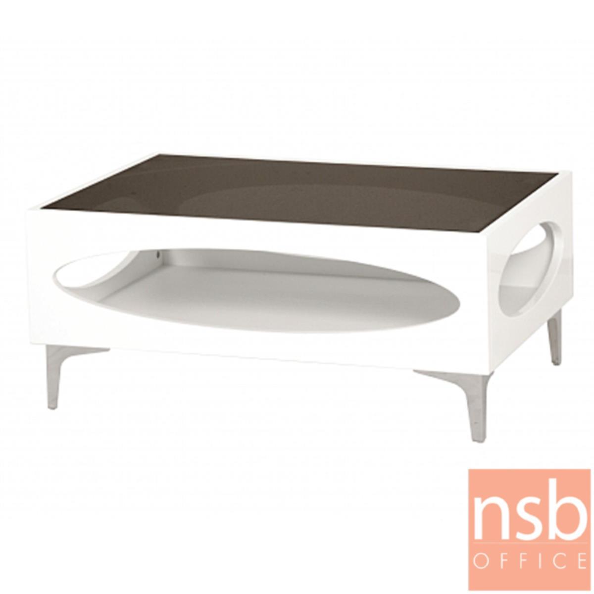 โต๊ะกลางโซฟากระจกสีชา  รุ่น GD-POK ขนาด 60W ,90W cm.  โครงไม้พ่นสีขาว ขาเหล็กชุบโครเมี่ยม