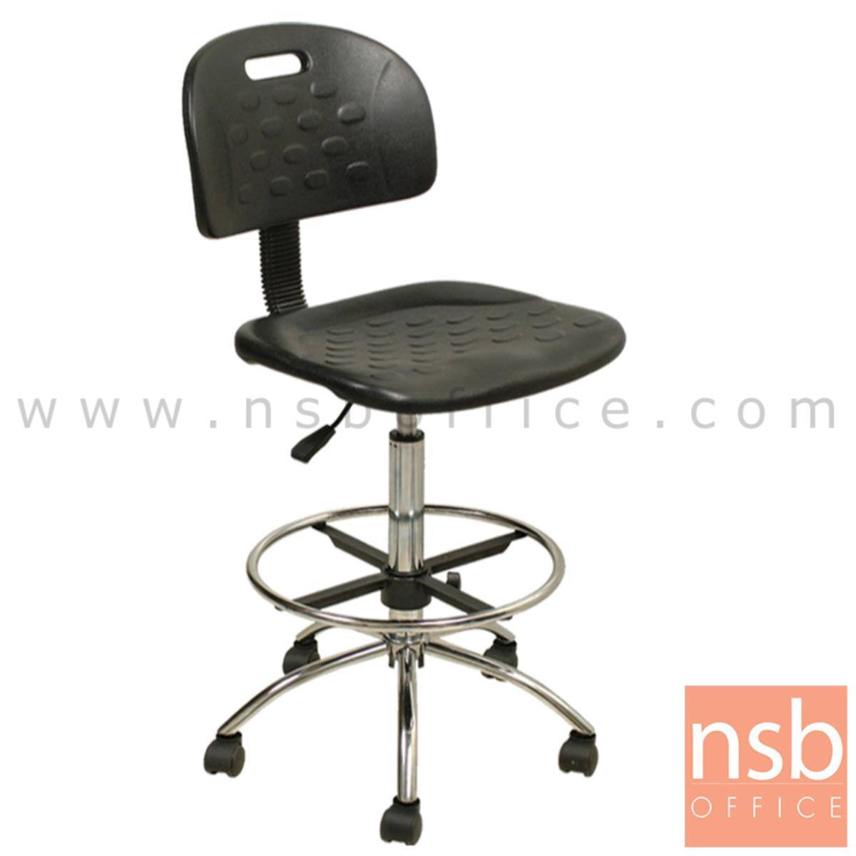 B09A085:เก้าอี้บาร์สตูลที่นั่งเหลี่ยมล้อเลื่อน รุ่น Murdoch (เมอร์ด็อค)  โช๊คแก๊ส ขาเหล็กชุบโครเมี่ยม