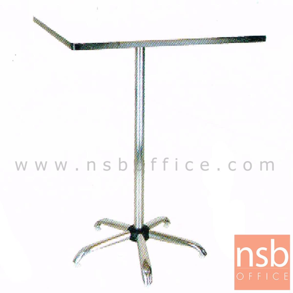 โต๊ะคอฟฟี่ช็อป หน้าโฟเมก้า รุ่น Leicester (เลสเตอร์)  ขนาด 60Di 110H cm. โครงขาเหล็ก 5 แฉก ชุบโครเมี่ยม
