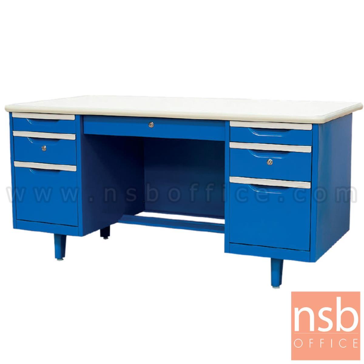 E06A008:โต๊ะทำงานเหล็กหน้าเหล็ก 7 ลิ้นชัก  รุ่น Cillian (คิลเลียน) ขนาด 4.5 ,5 ,6 ฟุต