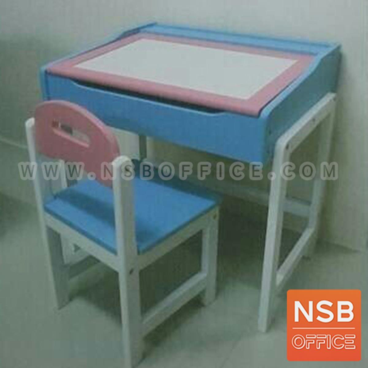 ชุดโต๊ะและเก้าอี้นักเรียนไม้ยางพารา รุ่น Conner (คอนเนอร์)  มีที่เก็บของใต้โต๊ะ สีแฟนซี