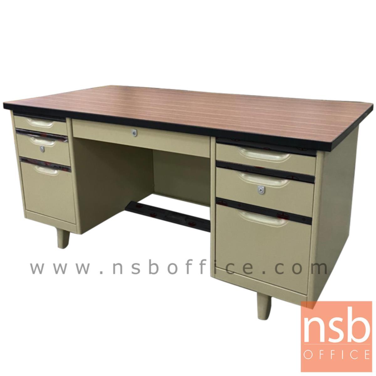 โต๊ะทำงานเหล็กหน้าโฟเมก้าลายไม้ 7 ลิ้นชัก ยี่ห้อ Lucky  รุ่น NTC-2654,NTC-3060,NTC-3472