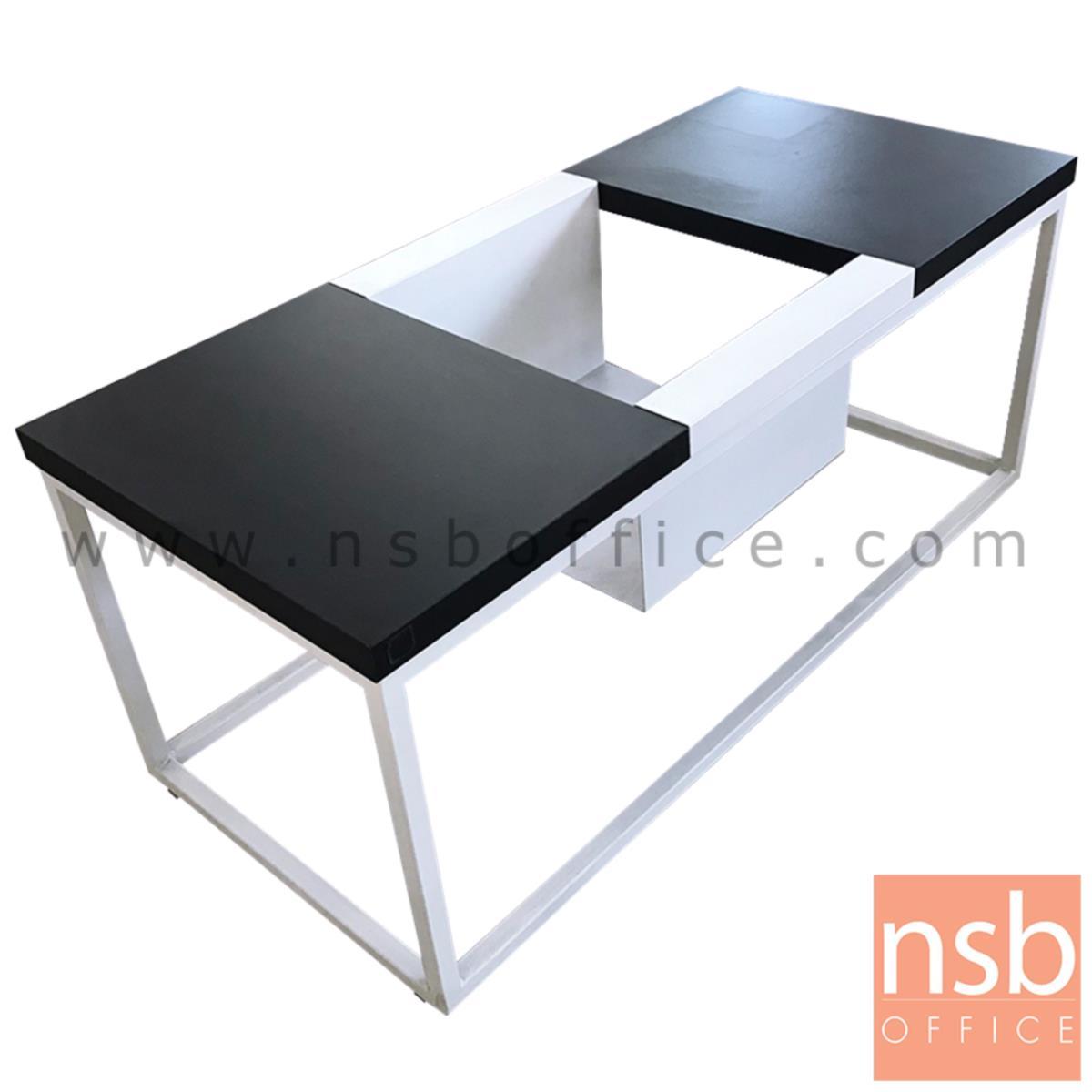 L10A161:โต๊ะกลางโมเดิร์น  ขนาด 90W*38H cm. ขาเหล็กพ่นสีขาว