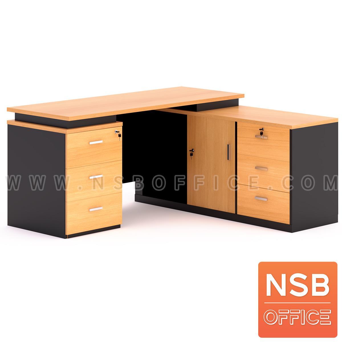 A13A036:โต๊ะทำงานตัวแอล รุ่น Bridget (บริดเจ็ท) ขนาด 160W*140D*75H cm. เมลามีน (พร้อมตู้ข้าง แอลขวา)
