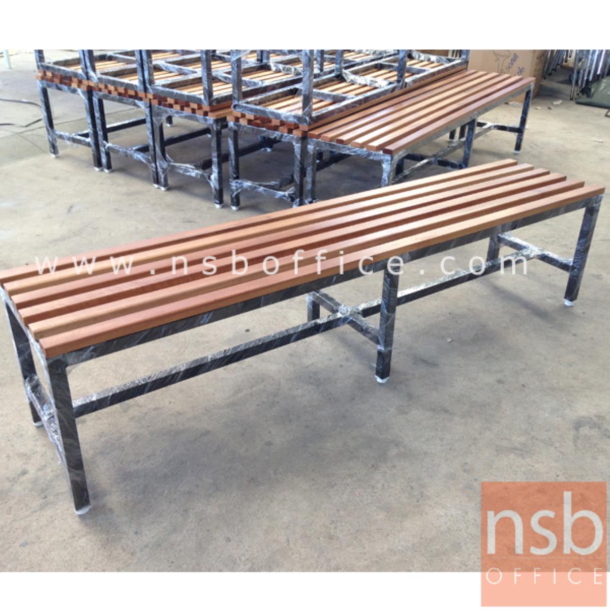 G14A129:ม้านั่งโรงอาหาร ไม้ยางพาราทำสีสัก ตีระแนง  (ลึก 30D cm) ขาเหล็กสีดำ