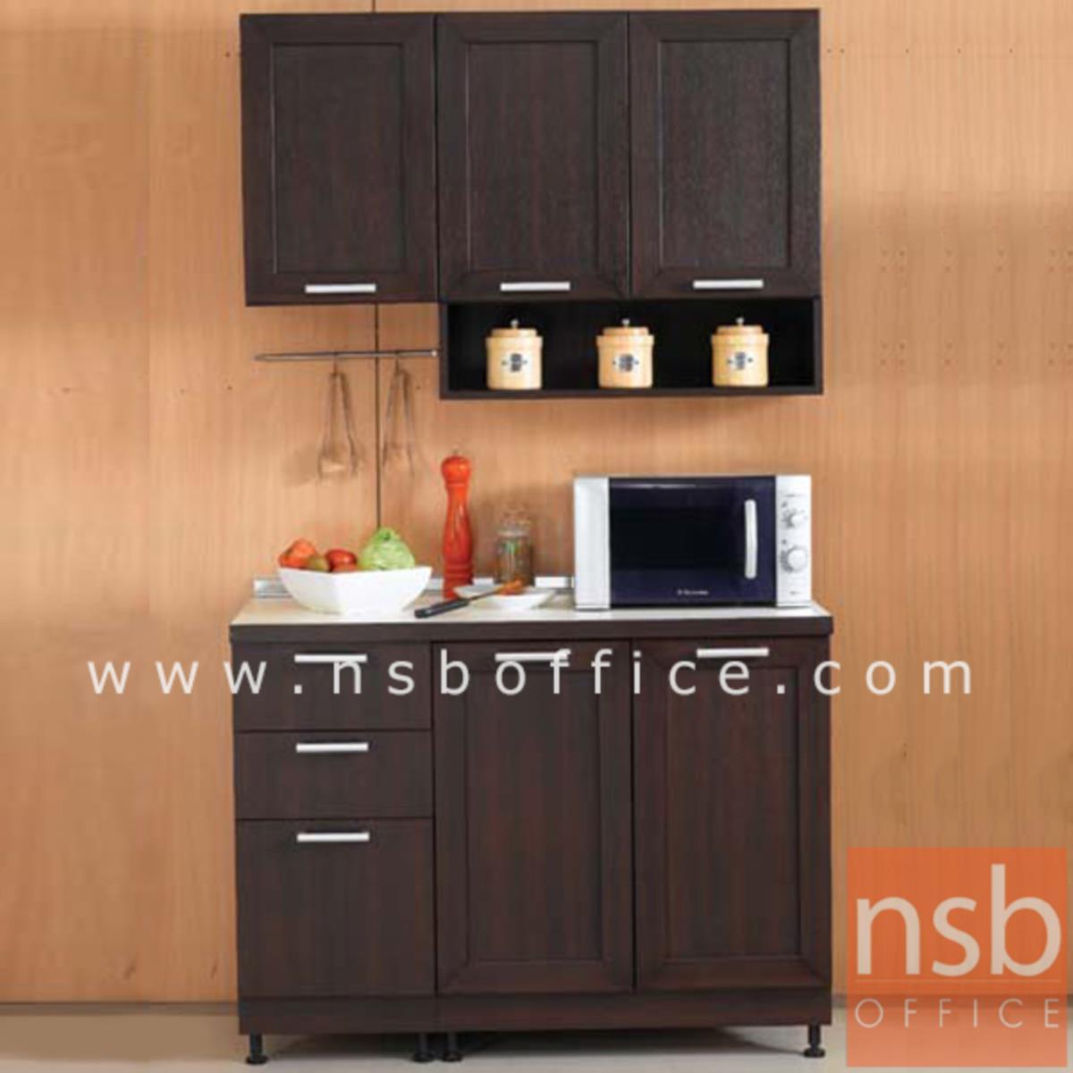 K03A021:ชุดตู้ครัวหน้าเรียบ 120W cm. รุ่น STEP-002 พร้อมตู้แขวนลอย