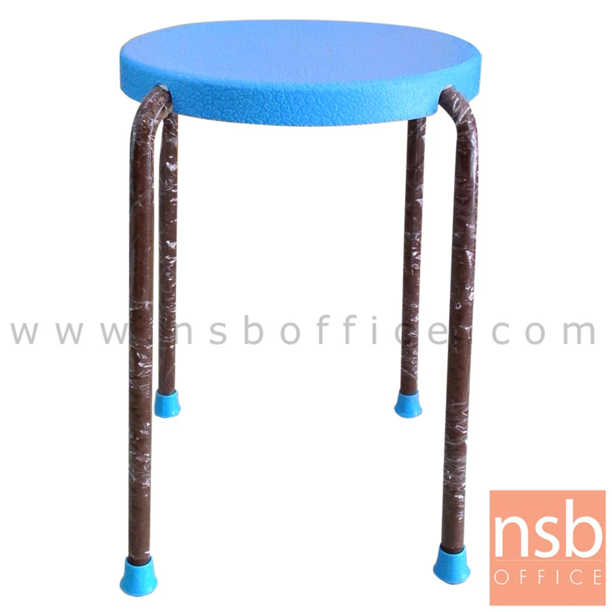 B10A079:เก้าอี้สตูลกลมที่นั่งพลาสติก  38Di*46H cm. ขาเหล็ก