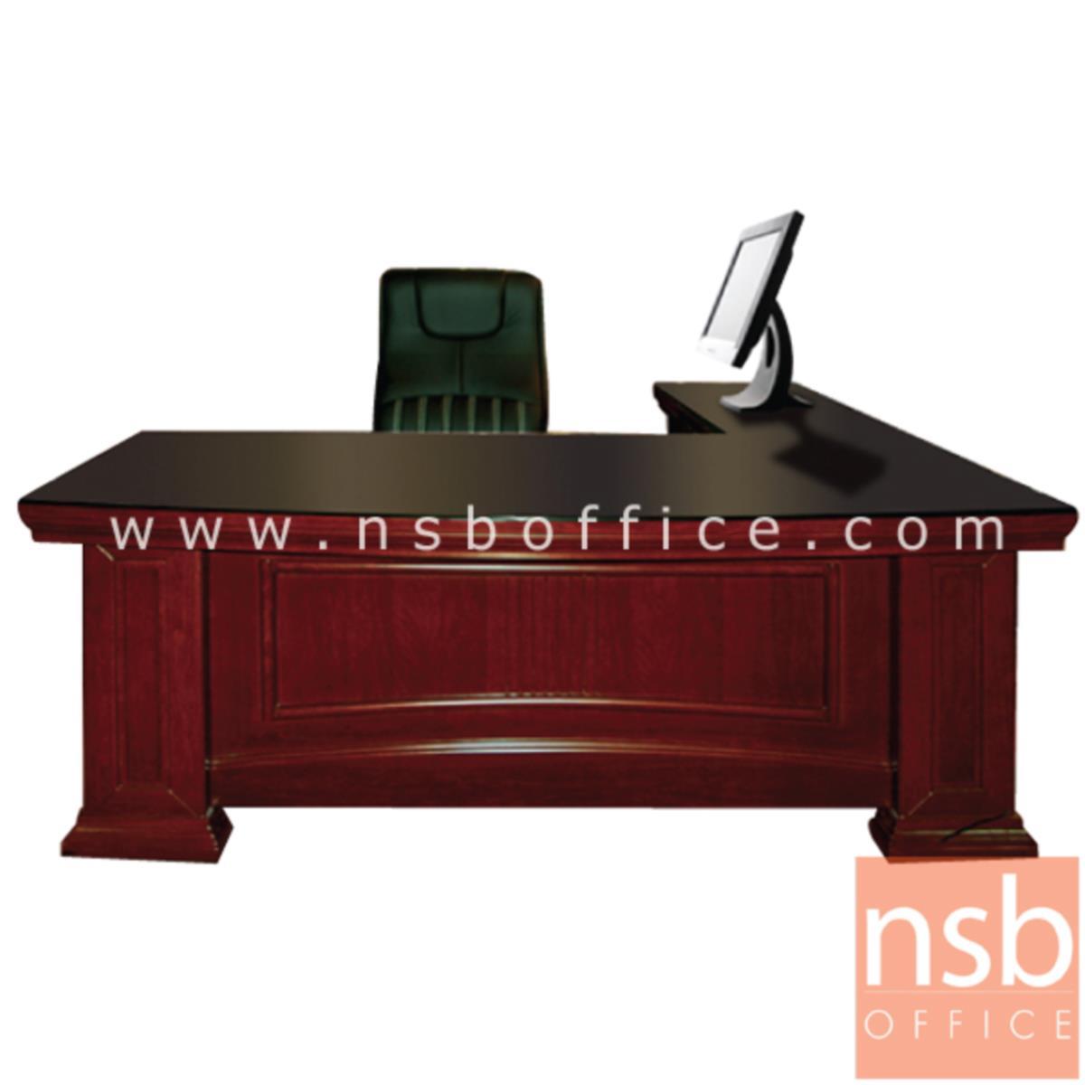A06A046:โต๊ะผู้บริหารตัวแอลทับกระจก  รุ่น Amour (อะมอ) ขนาด 200W cm. พร้อมตู้ลิ้นชักและตู้ข้าง