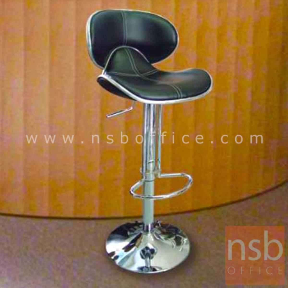 เก้าอี้บาร์สูงหนังเทียม รุ่น Kiele (คีลี)   โช๊คแก๊ส ขาโครเมี่ยมฐานจานกลม