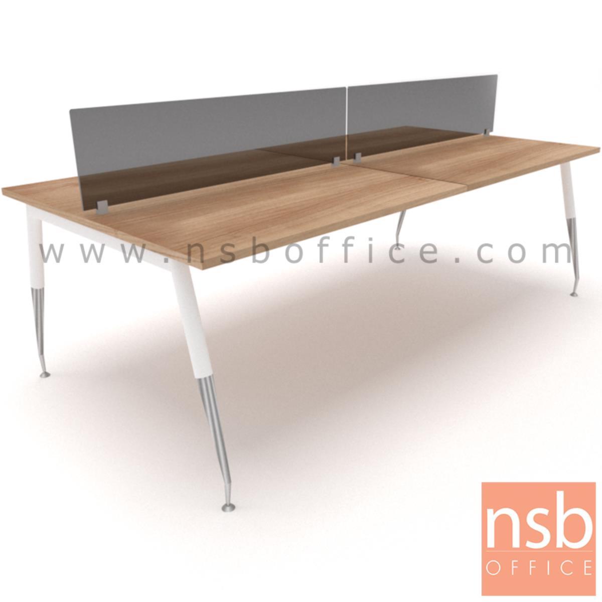 A27A025:ชุดโต๊ะทำงานกลุ่ม  รุ่น Petula (เพทูลา) 2 ,4  ที่นั่ง  พร้อมแผ่น miniscreen ขาเหล็กปลายเรียว