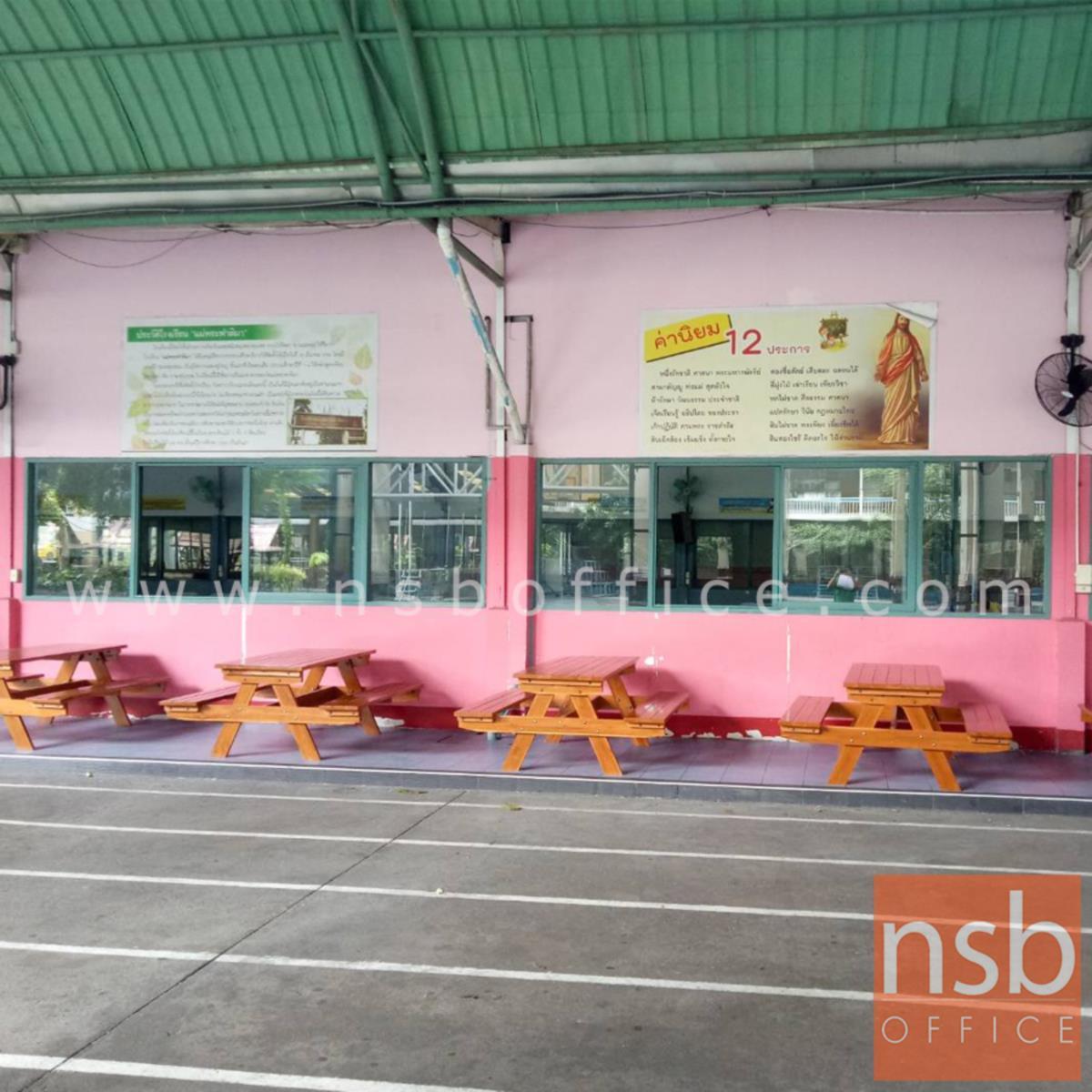 โต๊ะโรงอาหารไม้สักล้วน รุ่น SOUTHDAKOTA (เซาธ์ดาโกตา) ขนาด 150W cm. ขาไขว้