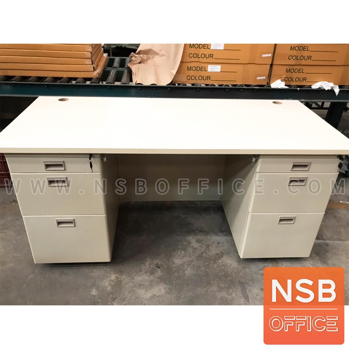 โต๊ะทำงานเหล็กหน้าไม้ผิวพีวีซี 7 ลิ้นชัก  รุ่น DNP 167 ขนาด 160W*70D cm. เหล็กหนาพิเศษ 0.6 มม.