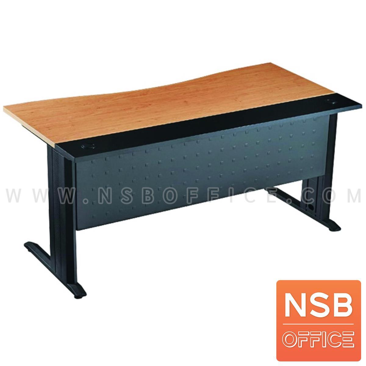 A10A009:โต๊ะทำงานหน้าโค้ง ขนาด 160W*75H cm. บังโป้เหล็ก รุ่น S-DK-0861  ขาเหล็กตัวแอลดำ