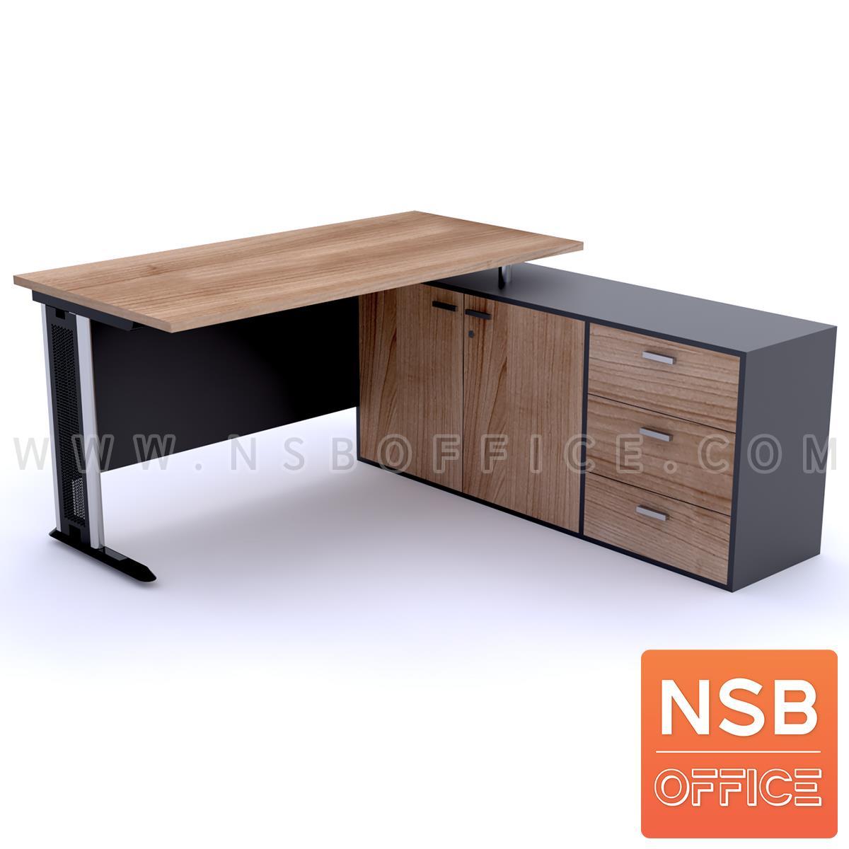 A18A064:โต๊ะทำงานตัวแอล   ขนาด 150W1 ,165W1*130W2 cm.  พร้อมตู้ข้างเตี้ย เมลามีน