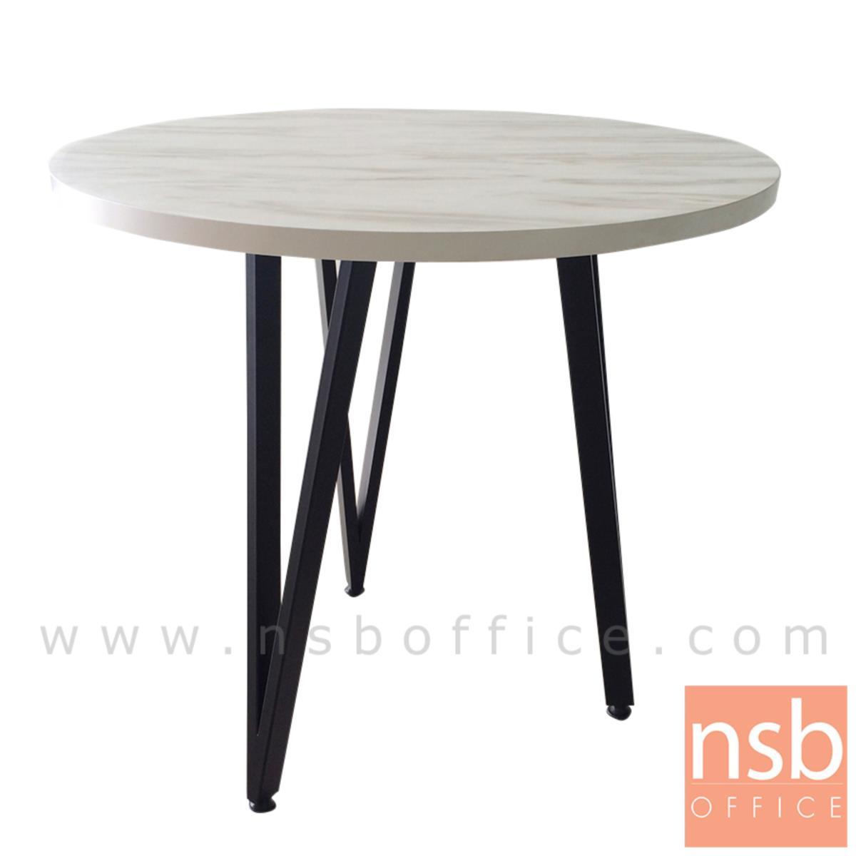 A14A245:โต๊ะกลมหน้าเมลามีน 80 cm รุ่น Springfield (สปริงฟีลด์)   ขาเหล็กทรงสามเหลี่ยม