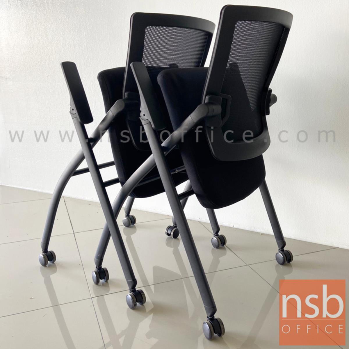 เก้าอี้เลคเชอร์หลังเน็ตล้อเลื่อน รุ่น Connec (คอนเนก)  ขาเหล็กพ่นสีดำ ท้าวแขนปรับได้