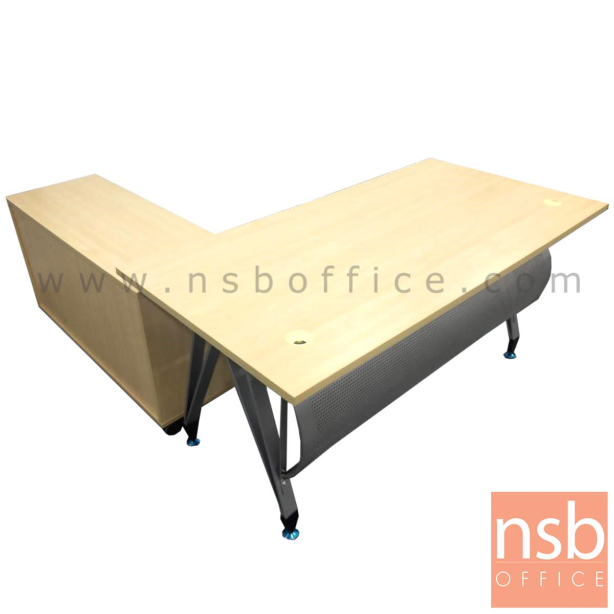 โต๊ะผู้บริหาร ขาตัวเอปลายแหลม พร้อมตู้ข้าง รุ่น G2050 ขนาด 160W พร้อมบังตาโค้งสีเงิน