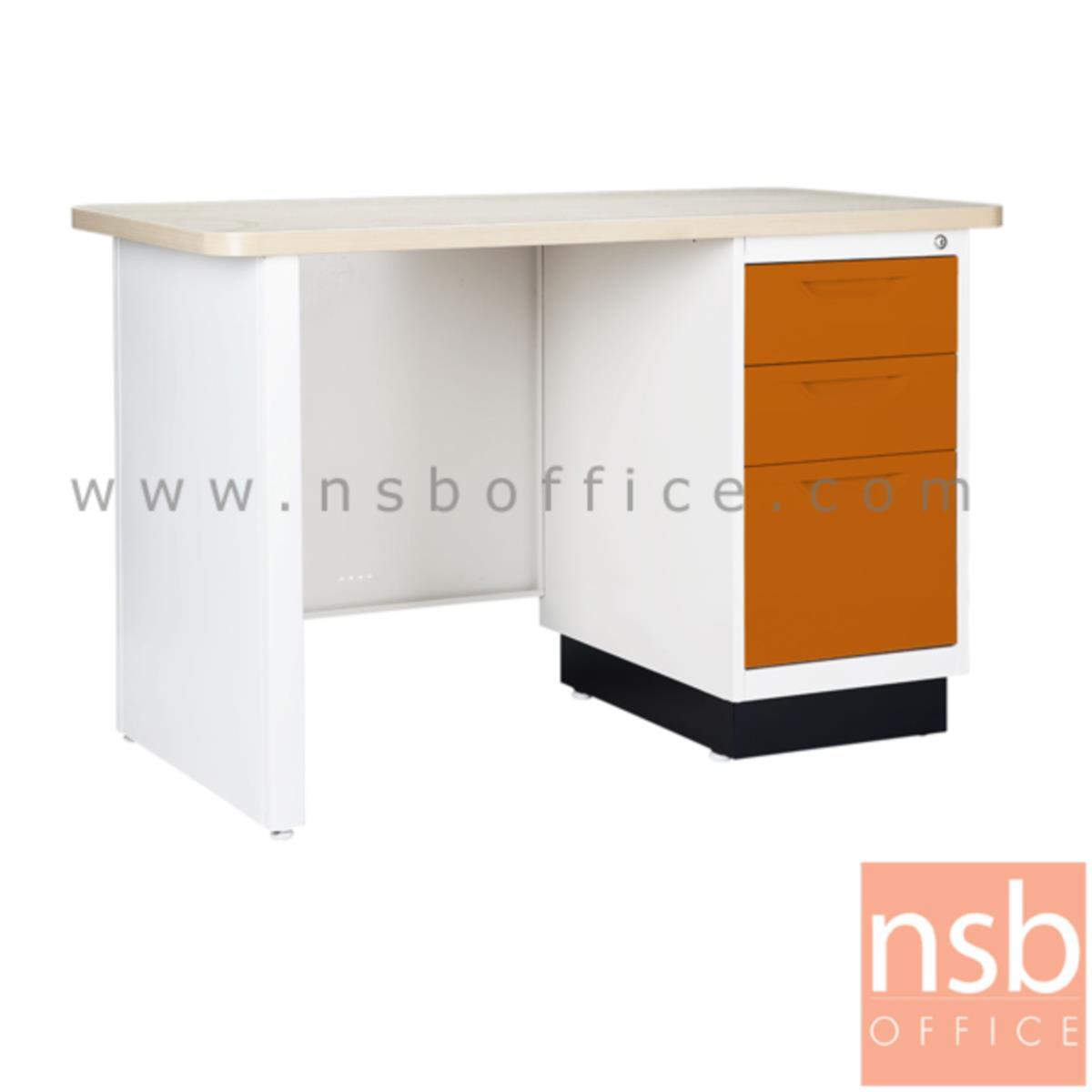 E22A003:โต๊ะทำงานหน้า Melamine ลายไม้ 3 ลิ้นชัก รุ่น BS-123 ขนาด 4 ฟุต 120W*75H cm. สีบีช
