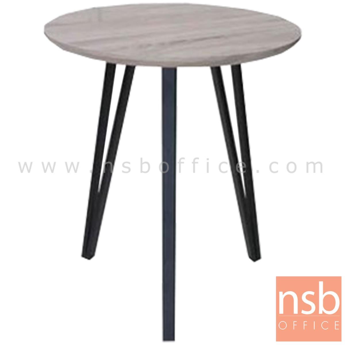 โต๊ะกลมหน้าไม้ รุ่น CACERES (กาเซเรส) ขนาด 60Di cm. ขาเหล็ก