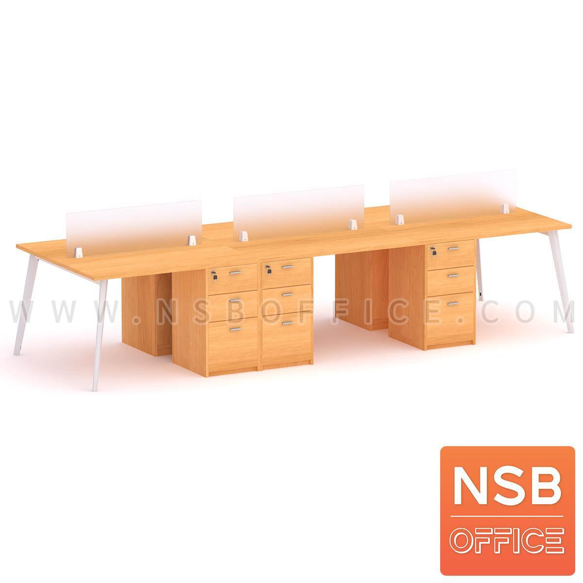 ชุดโต๊ะทำงานกลุ่ม รุ่น Outer (เอ็าเทอร์) 2, 4, 6 ที่นั่ง  พร้อมมินิสกรีนและตู้ลิ้นชักไม้