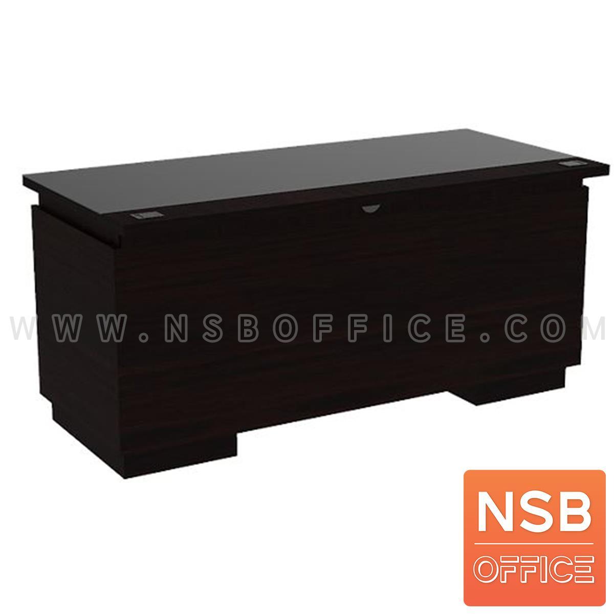 โต๊ะทำงานไม้ 2 ลิ้นชัก 2 บานเปิด รุ่น Tiffar (ทิฟฟาร์) ขนาด 160W*75D cm. ท็อปกระจกสีชา พร้อมรางคีย์บอร์ด