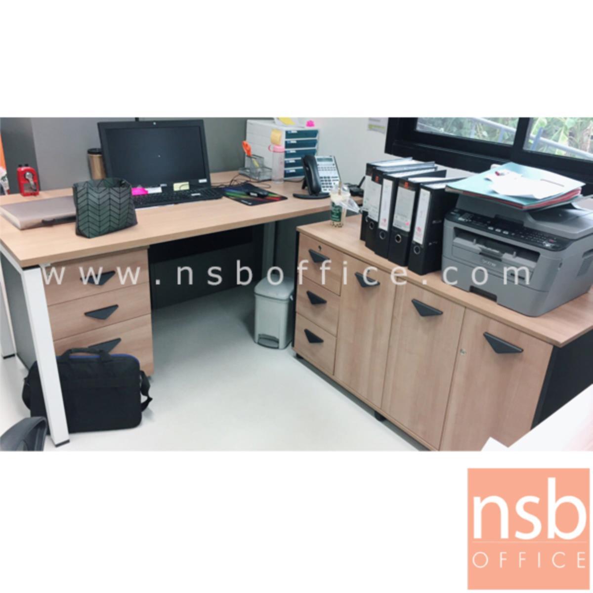 A10A057:ชุดโต๊ะทำงาน 3 ลิ้นชัก  พร้อมตู้ข้างเก็บเอกสาร รุ่น Delisle (ดีไลล์) ขนาด 160W*75H cm. ขาเหล็ก