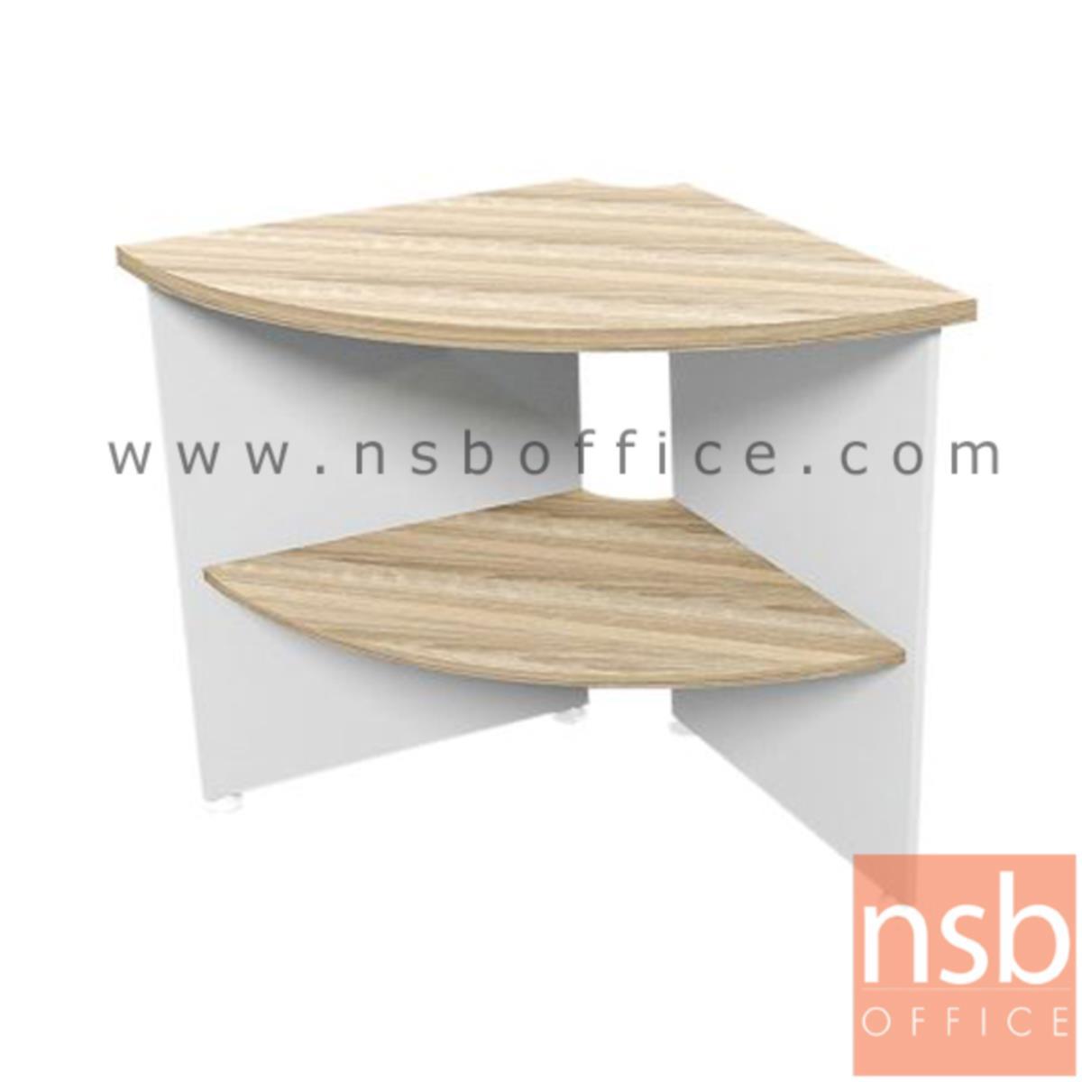 A21A021:โต๊ะเข้ามุม 2 ชั้น  รุ่น Kenwood (เคนวู้ด) ขนาด 70R cm. เมลามีน สีเนเจอร์ทีค-ขาว
