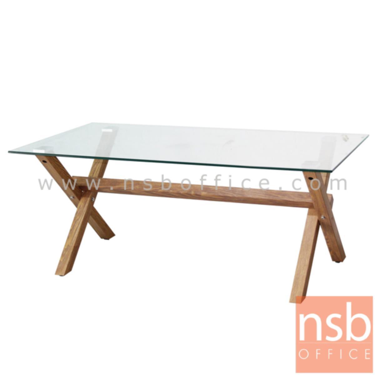 B13A226:โต๊ะกลางกระจก รุ่น Tube (ทูป) ขนาด 110W cm. โครงเหล็กปิดผิวกระดาษลายไม้