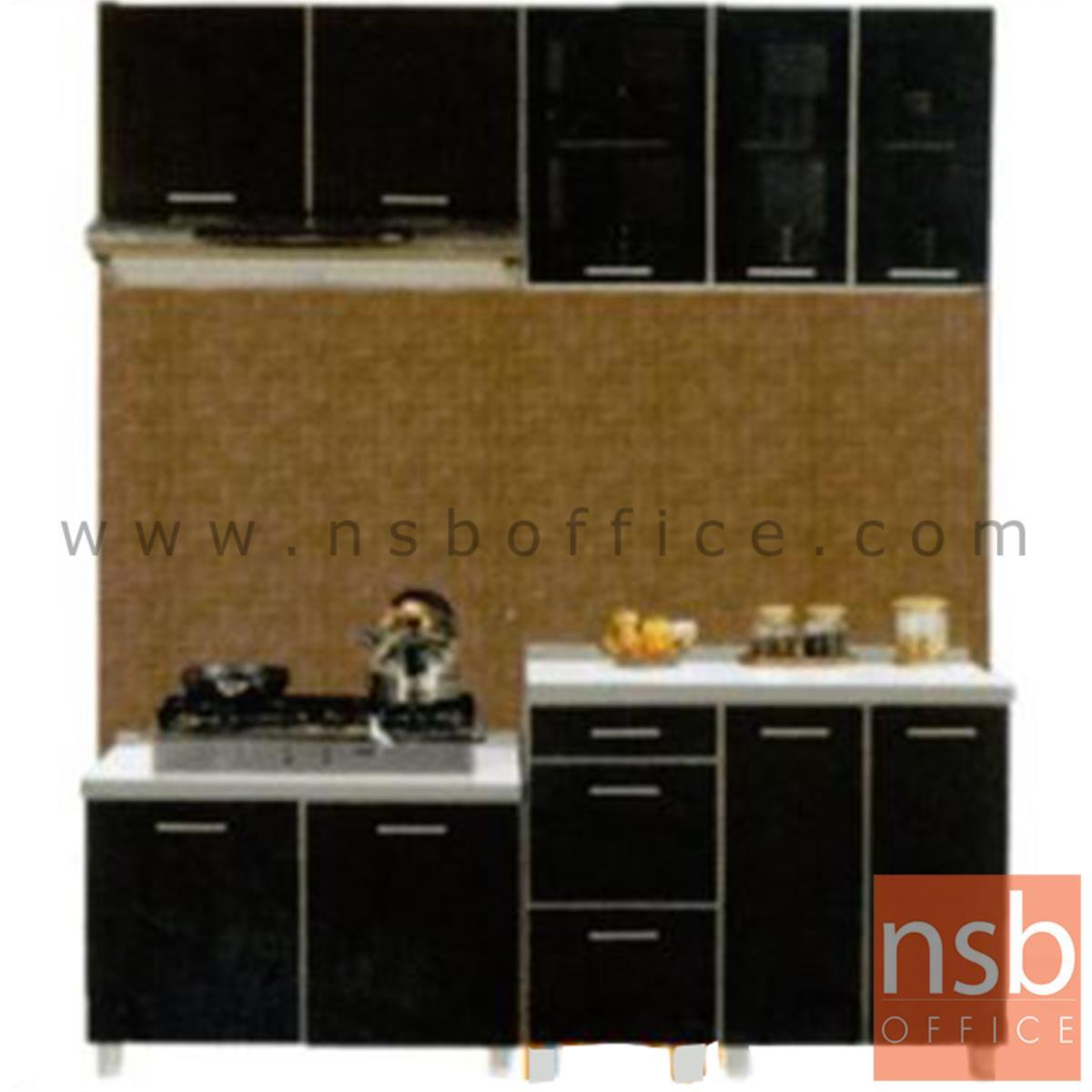 K01A025:ชุดตู้ครัวหน้าเรียบ 190W cm. รุ่น Darigold-190H  พร้อมตู้แขวนลอย