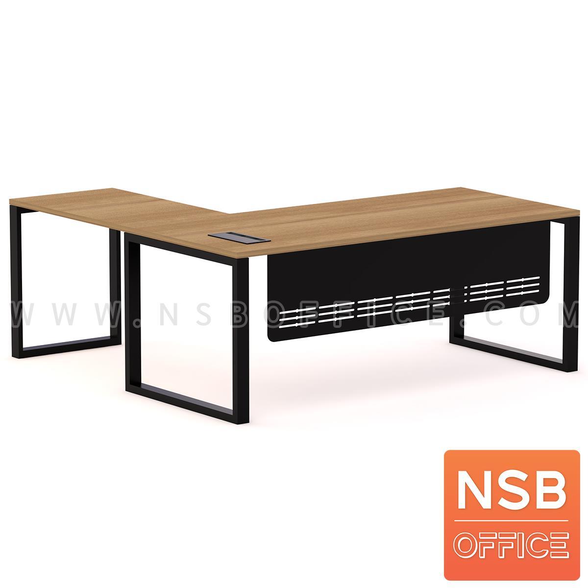 A30A038:โต๊ะทำงานผู้บริหารตัวแอล รุ่น Henery (เฮนเนอรี) ขนาด 200W1*190W2 cm. บังตาเหล็ก