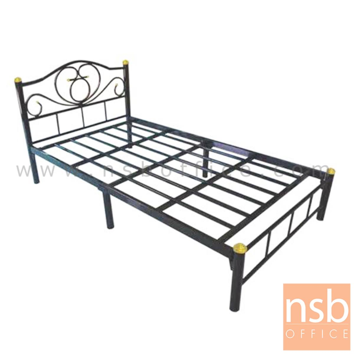 G11A004:เตียงเหล็กชั้นเดียว 3 ฟุตครึ่ง รุ่นมาตรฐาน หนา 0.7 mm ขนาด 106.6W* 200D* 33H cm. สีดำ (ลายบัว)