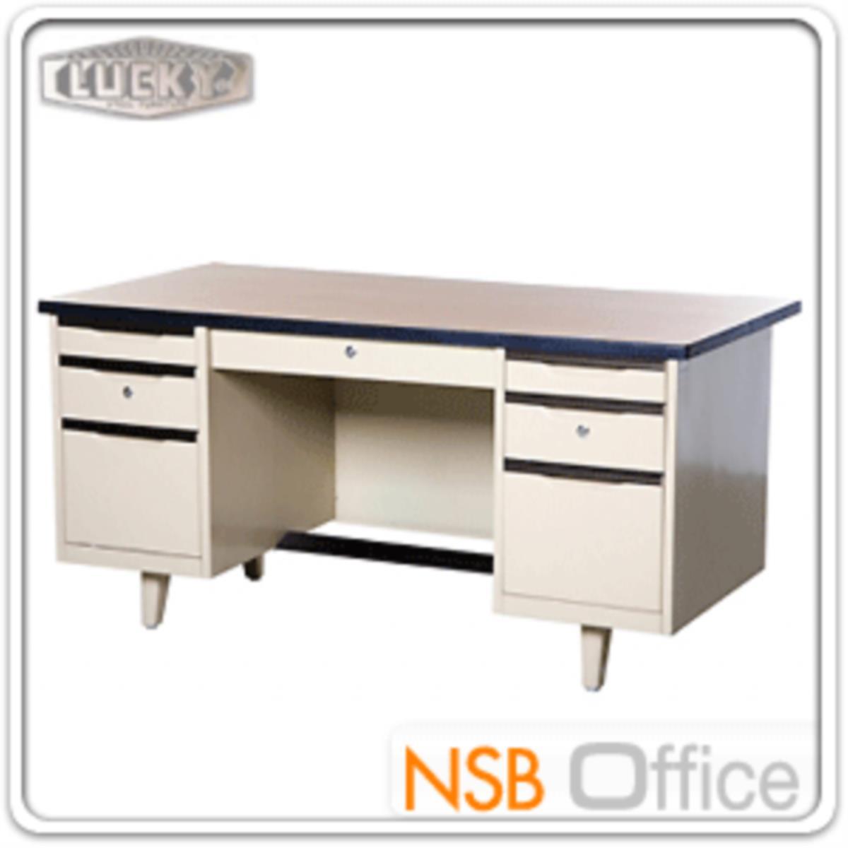 โต๊ะทำงานเหล็ก 7 ลิ้นชัก ยี่ห้อลัคกี้  รุ่น NTC-2654,NTC-3060,NTC-3472 โฟเมก้าลายไม้