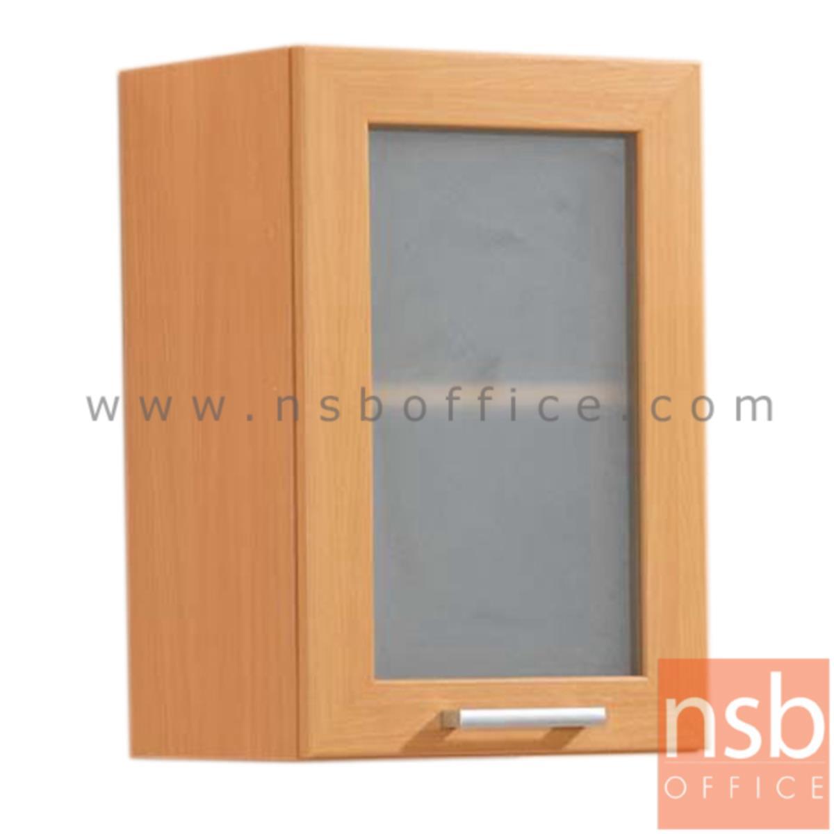 K03A014:ตู้แขวนบานกระจกสูง 60 ซม. รุ่น Wisconsin 1 มือจับอลูมิเนียม
