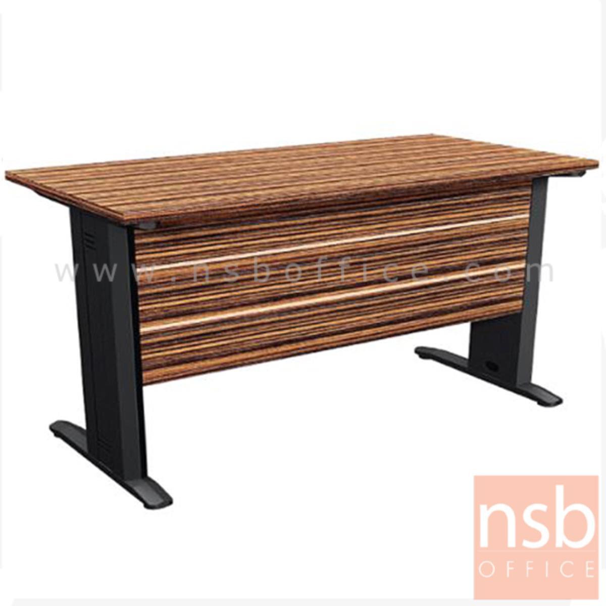 โต๊ะทำงาน รุ่น Private Blend ขนาด 120W ,150W cm.  ขาเหล็ก สีลายไม้ซีบราโน่ตัดดำ ขอบ ROSEGOLD