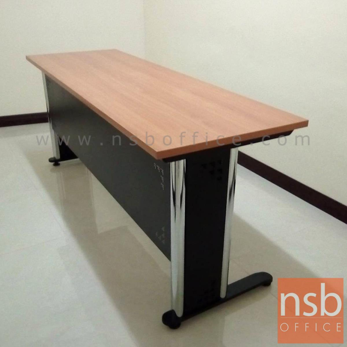 โต๊ะประชุมตรง  ขนาด 80W ,120W ,150W ,180W ,210W cm. พร้อมบังตาเหล็กทำลวดลาย ขาเหล็กตัวแอล